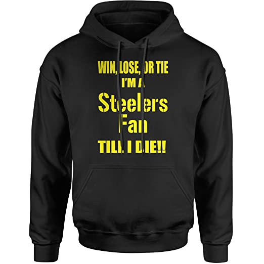 2fde450a0 Expression Tees Hoodie Win Lose Or Tie Steelers Fan Adult Small Black