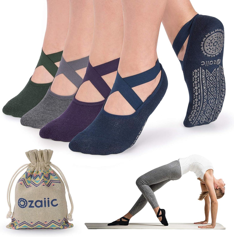 Non Slip Socks for Yoga Pilates Barre Fitness Hospital Socks for Women  4 Pack