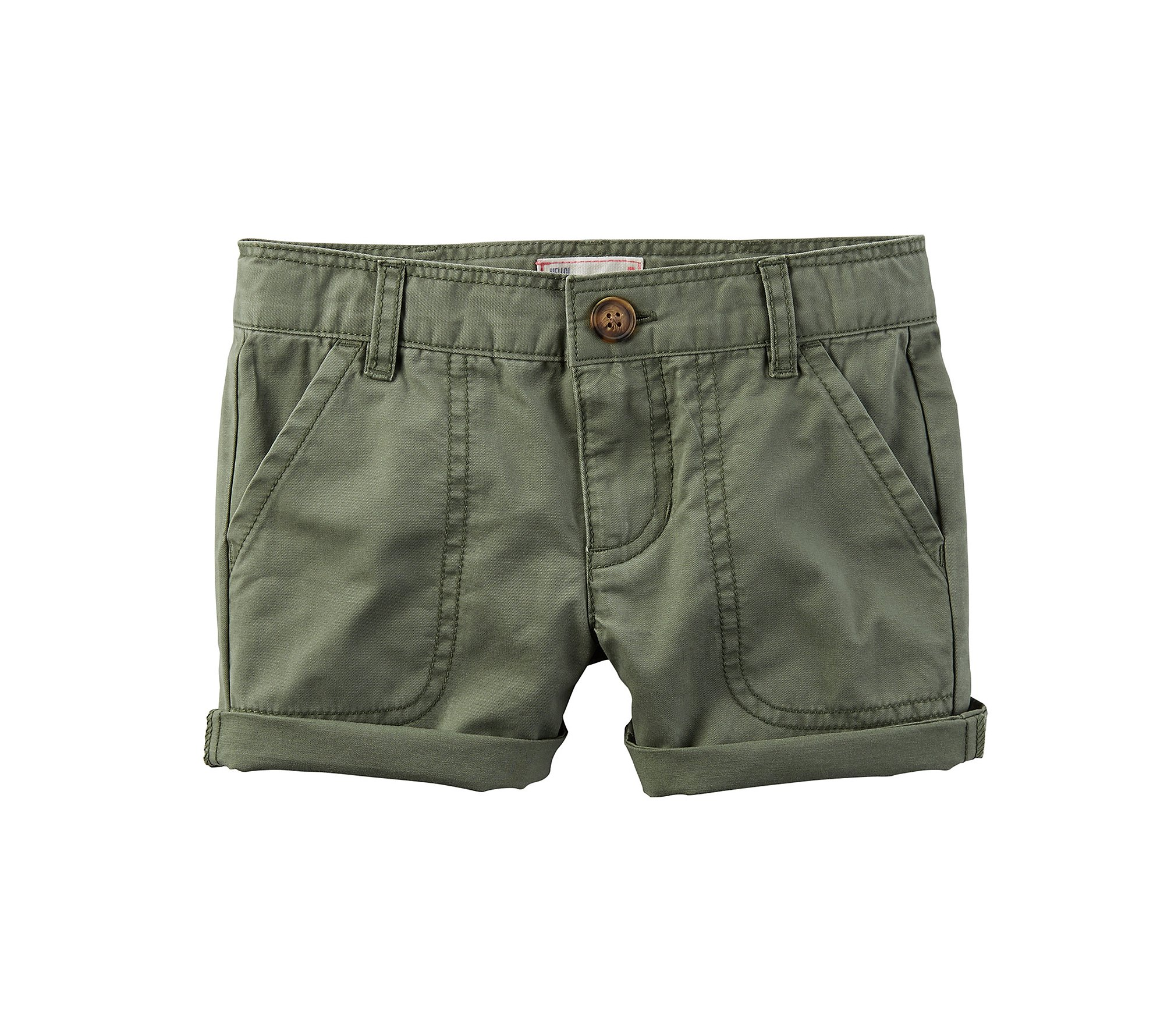 Carter's Girls' 2T-8 Roll Cuffed Shorts Olive 5