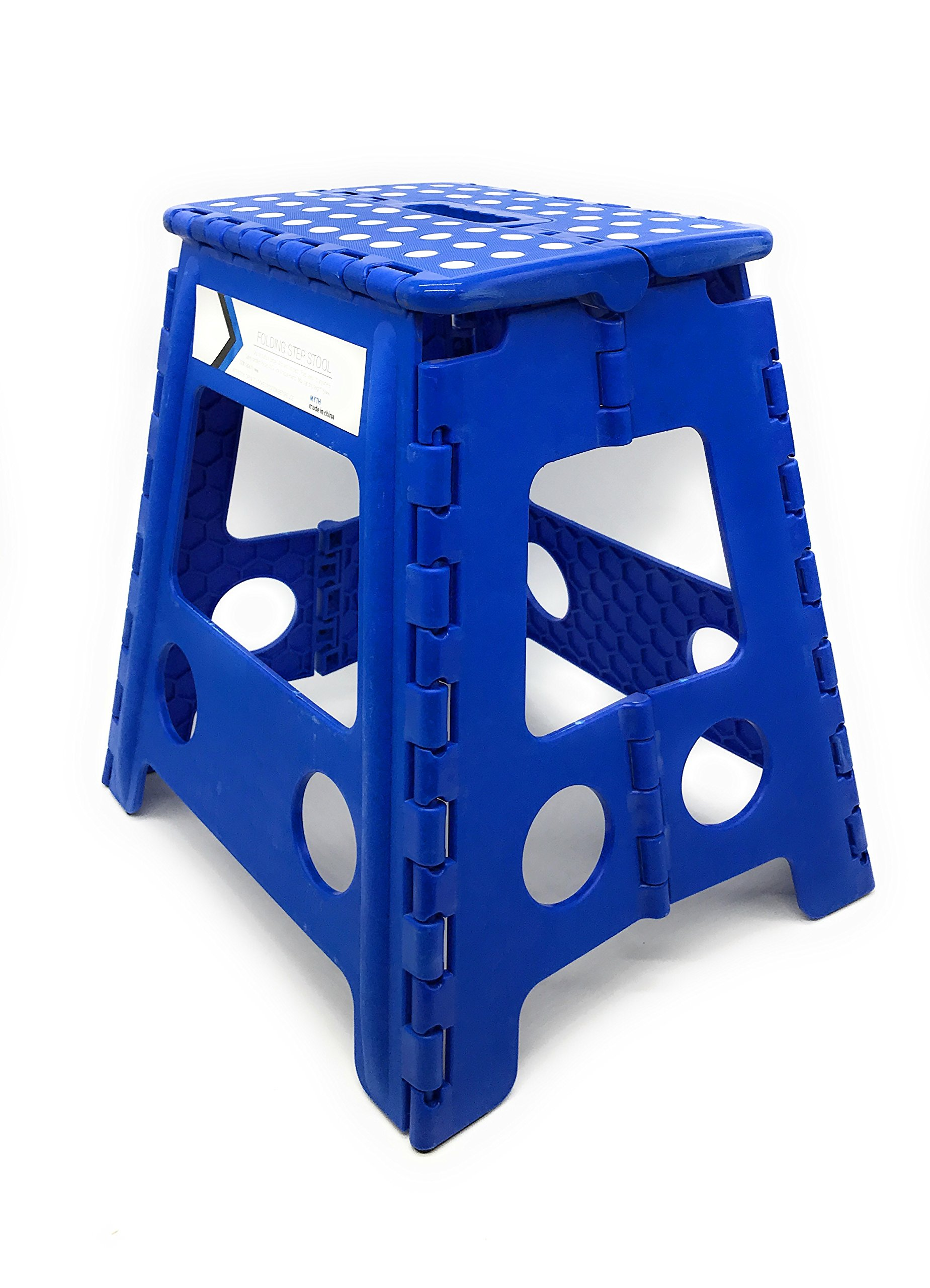 Folding Step Stool 16 Inches Height by Myth with Anti-Slip Surface Great for Kitchen, Bathroom, Bedroom, Kids or Adults Super Strong Holds Up to 330 LBS (Blue)