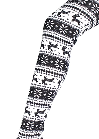 Ladies Festive Fair isle Reindeer Print Leggings Medium: Amazon.co ...