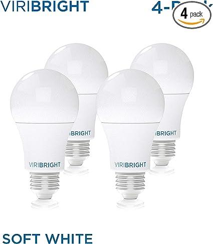 Viribright Lighting 750338 4sc Viribright Non Dimmable A19 Light 8 60 Watt Replacement Warm White 2700 Kelvin E26 Base Led Bulb Ul Listed Pack