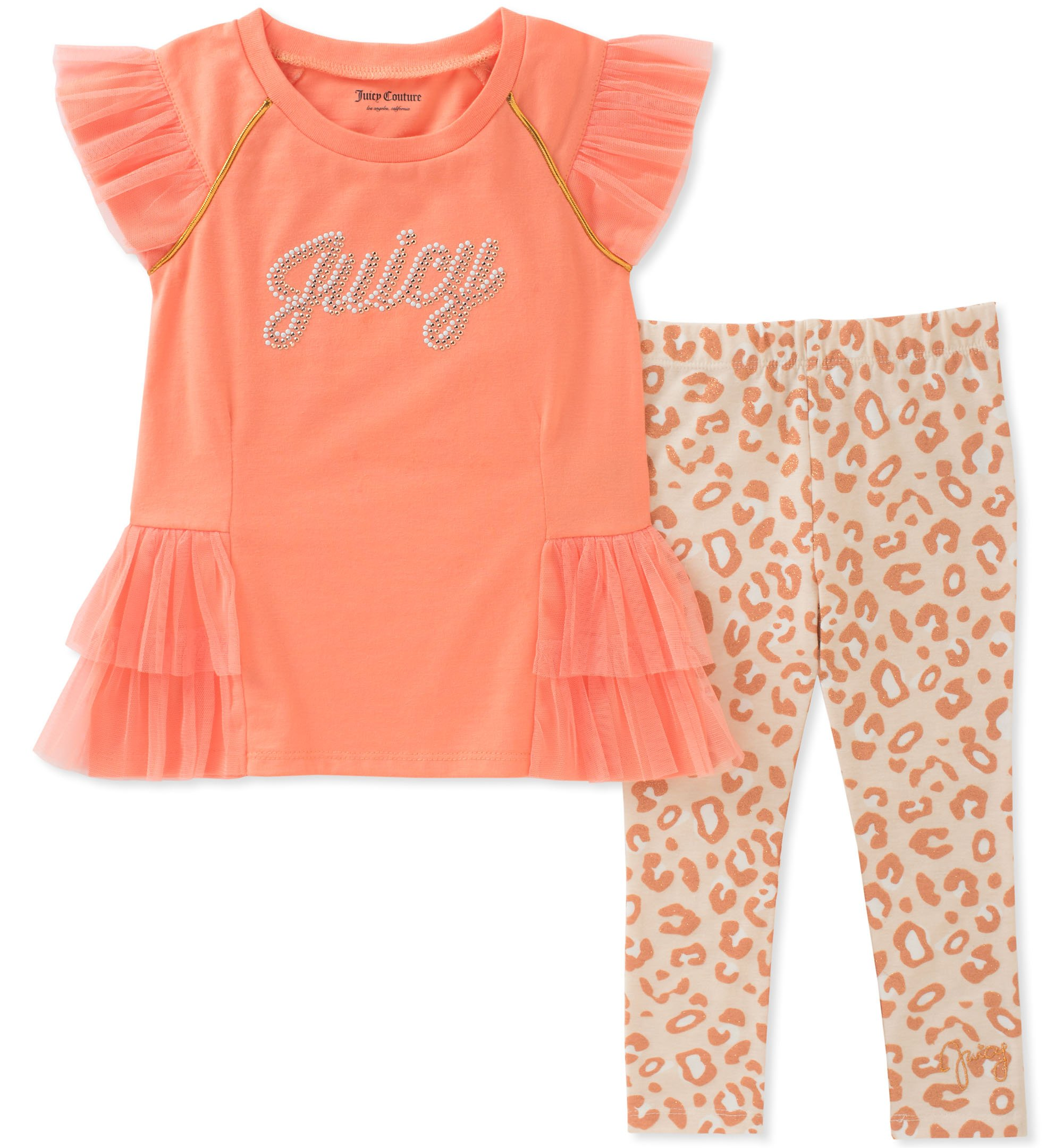 Juicy Couture Baby Girls 2 Pieces Tunic Set, Coral/Print 12M
