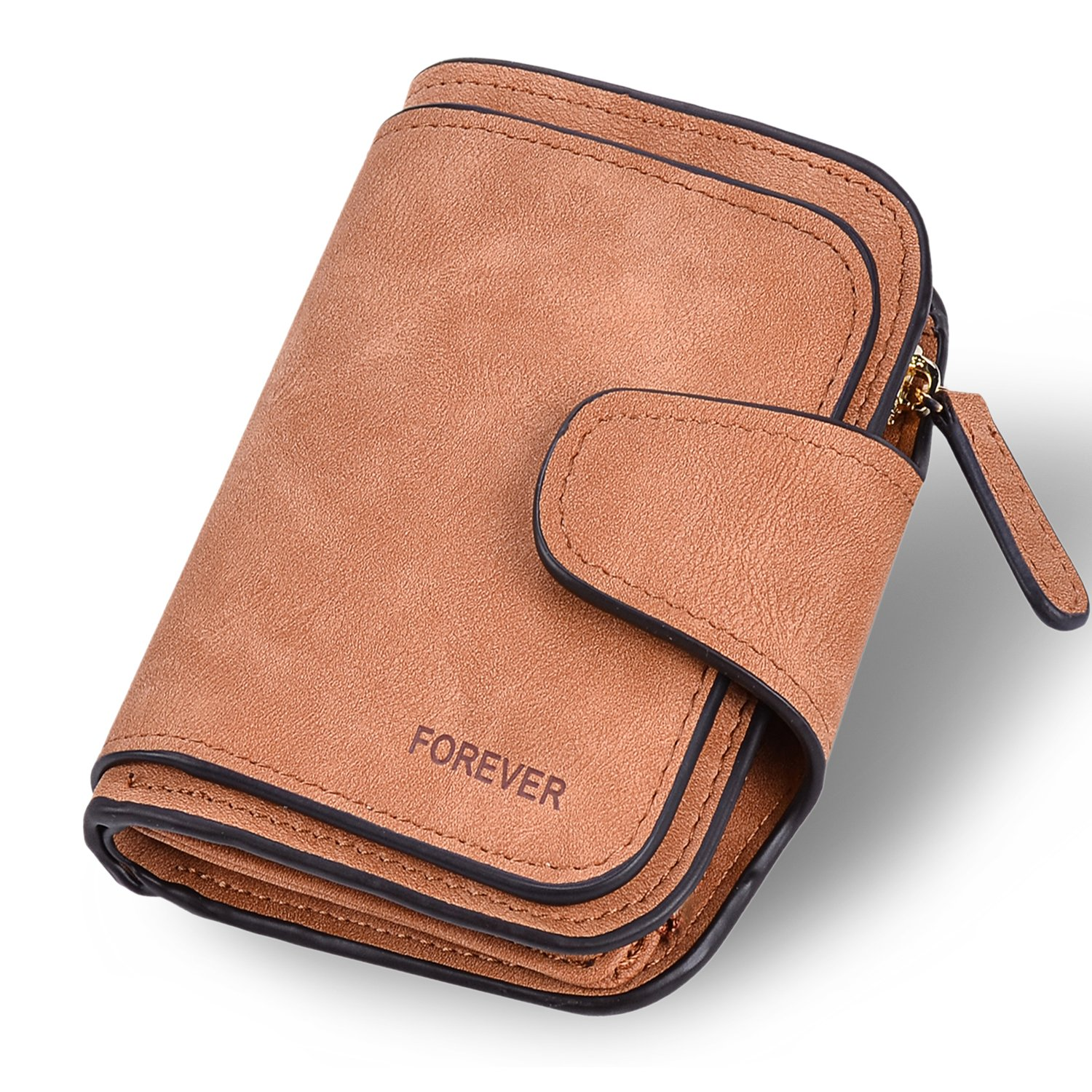 Wallet for Women Leather Clutch Short Purse Ladies Credit Card Holder Organizer with Zip Pocket - Brown by EUGO (Image #1)