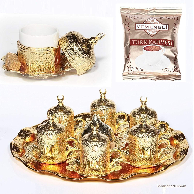 ( SET of 6 )Turkish Greek Arabic Coffee Espresso Serving Cup Saucer SET (gold) color