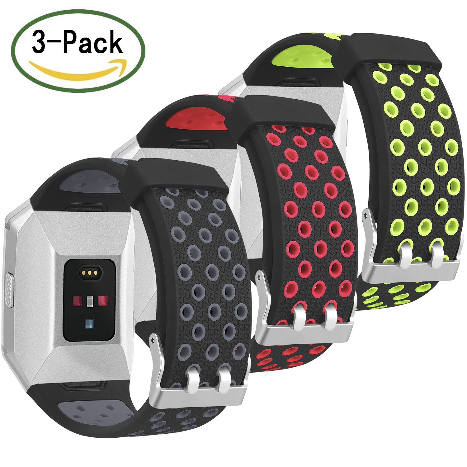 For Fitbit Ionicバンド、Skylet 3パックソフト通気性アクセサリーWristbands for Fitbit Ionicブレスレットwith Buckle (トラッカーなし) 6.3-9.3 Inches/160-235mm|3PC: Black-Gray&Black-Red&Black-Green 3PC: Black-Gray&Black-Red&Black-Green 6.3-9.3 Inches/160-235mm B078JJRSHH