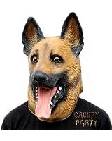 CreepyParty Novelty Halloween Party Latex Animal Dog Head Mask German Shepherd