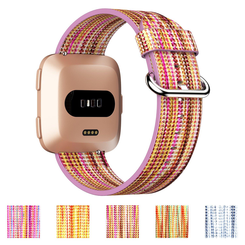 geekspark for Fitbit Versaバンド、カラフルなレザー交換用アクセサリーWristbandsステンレスメタルクラスプ付きFitbit Versaスマート腕時計 B07D8R3SXS A-Blush Purple
