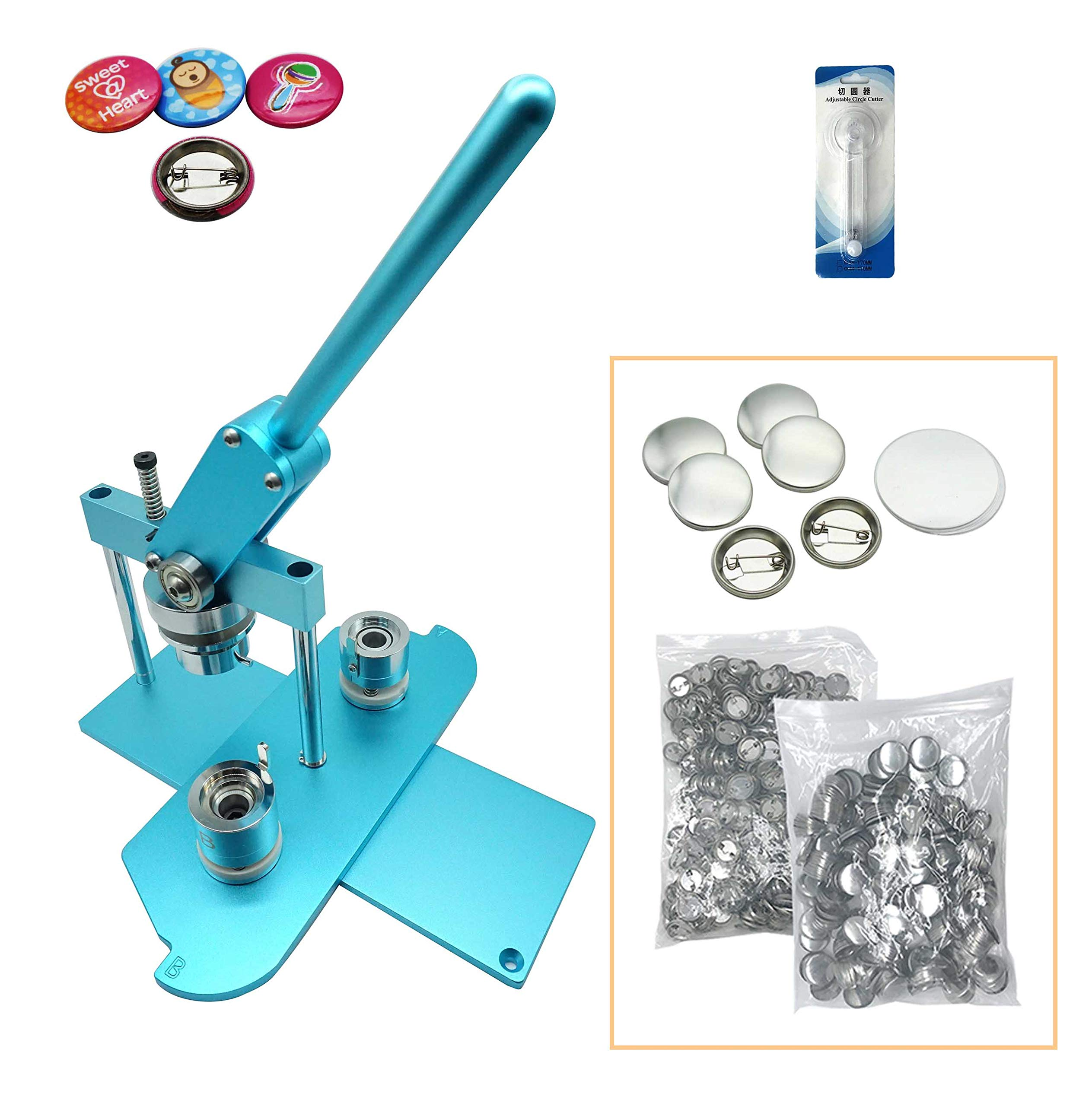 ChiButtons (KIT) 25mm(1'') Pro Badge Machine Button Maker B400 + Mould + 500 Parts + Circle Cutter Metric System(Blue) by Chi Buttons