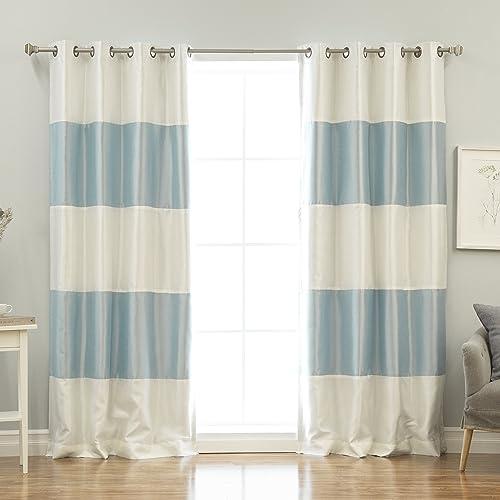Best Home Fashion Striped Dupioni Faux Silk Blackout Curtain – Antique Bronze Grommet Top – Sky Blue – 52 W x 84 L – Set of 2 Panels