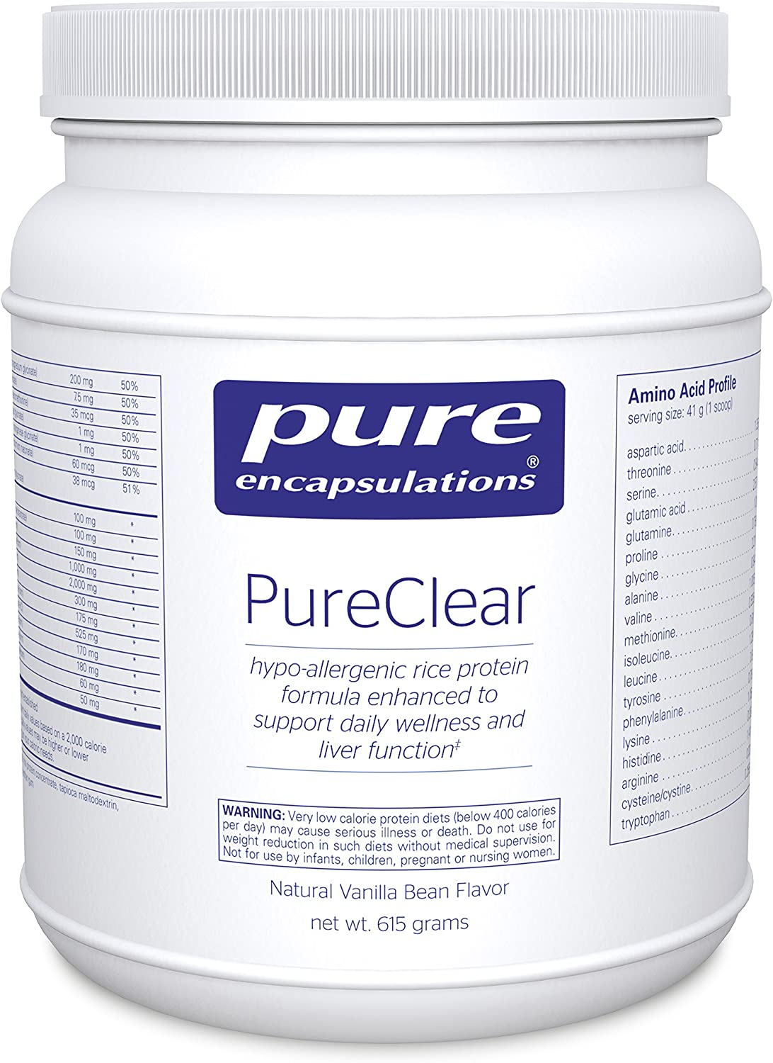 Pure Encapsulations – PureClear – Hypoallergenic Rice Protein to Support Daily Wellness and Healthy Liver Function* – Natural Vanilla Bean Flavor – 615 Grams