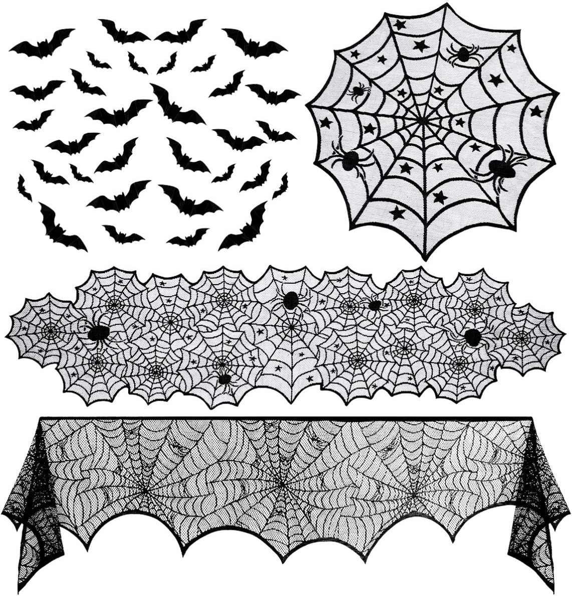 Halloween Party Supplies Set, Halloween Decoration Table Runner, Black Lace Spider Web Table Clothes, Spider Web Lace