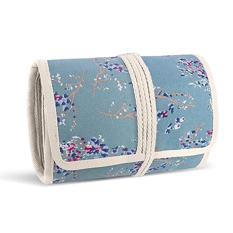 Teamoy Roll para Joyería Organizador de Joyas Estuche de Viaje para Collares, Pendientes, Pulseras, broches, 3 Carpetas, Varios departamentos, Flores