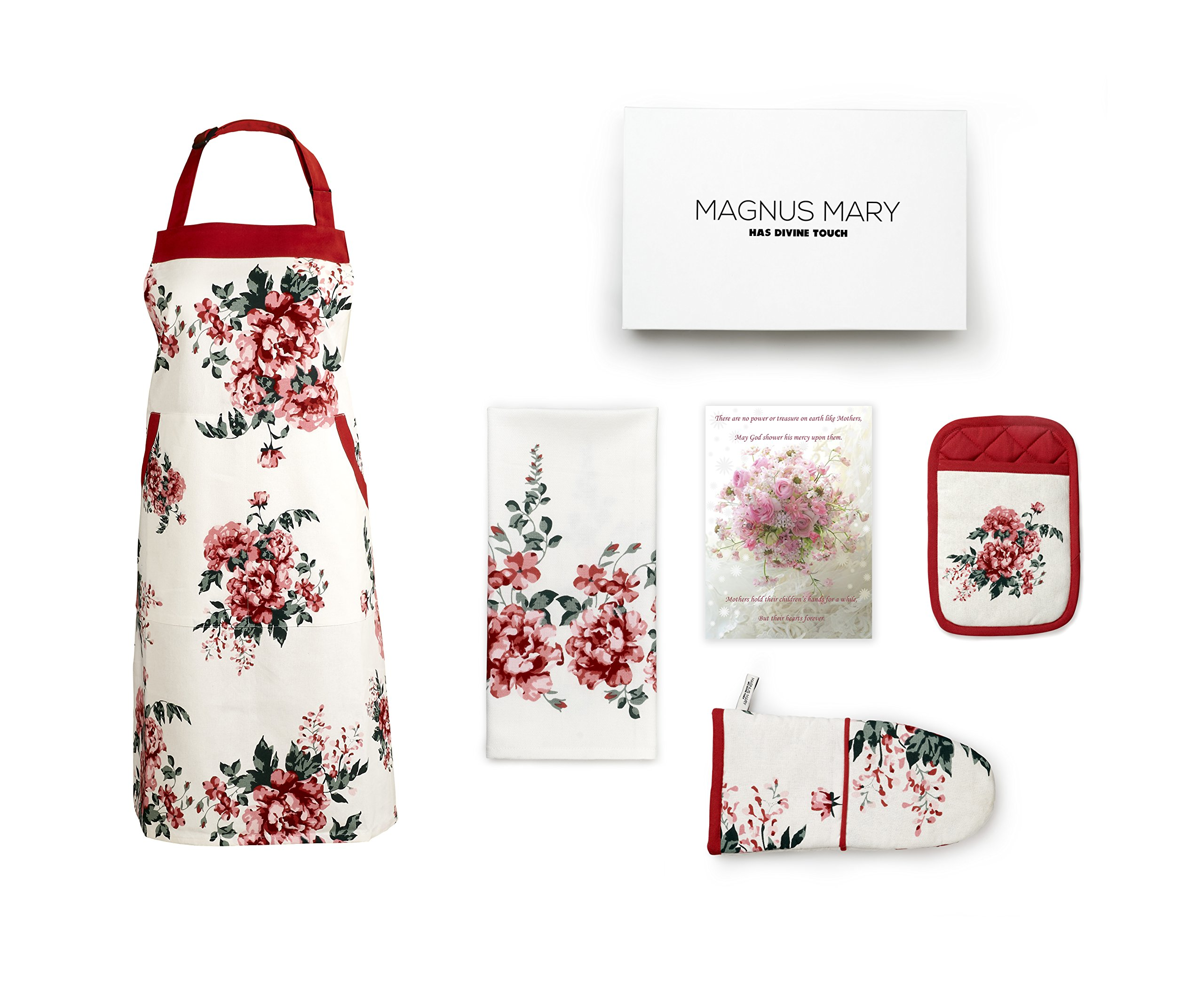 Perfect Present For Mothers, Ideal Mothers Kitchen Linen Set. Set Include Greeting Card, Bib Apron, Oven Mitt, Pot Holder, Kitchen Towel.  Beautiful Flower Design, 100 Percent Cotton.