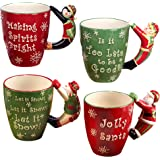 "Certified International""Santa, Snowman, Elf & Penguin"" 3D Handle Mugs (Set of 4), Multicolor"