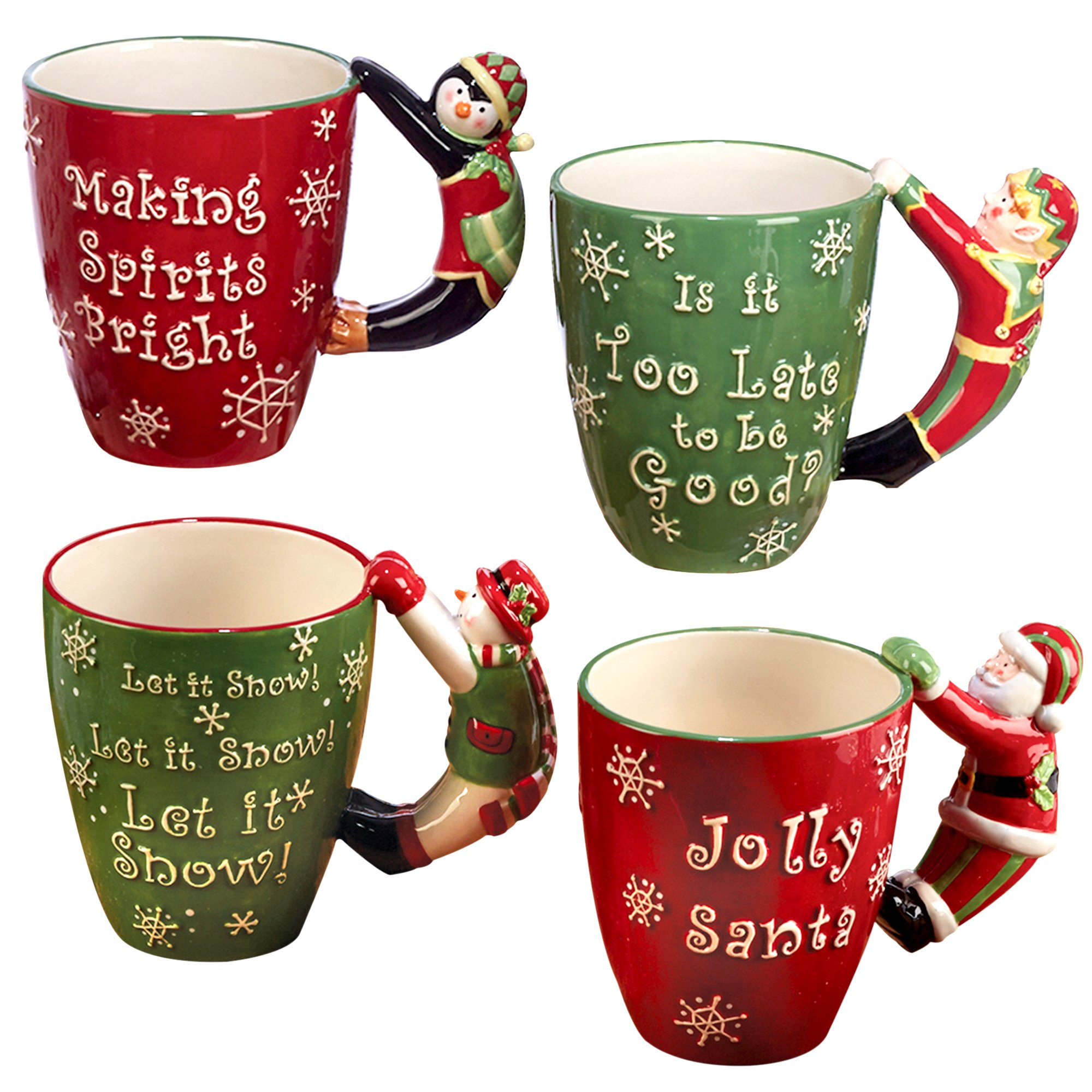 Certified International ''Santa, Snowman, Elf & Penguin'' 3D Handle Mugs (Set of 4), Multicolor