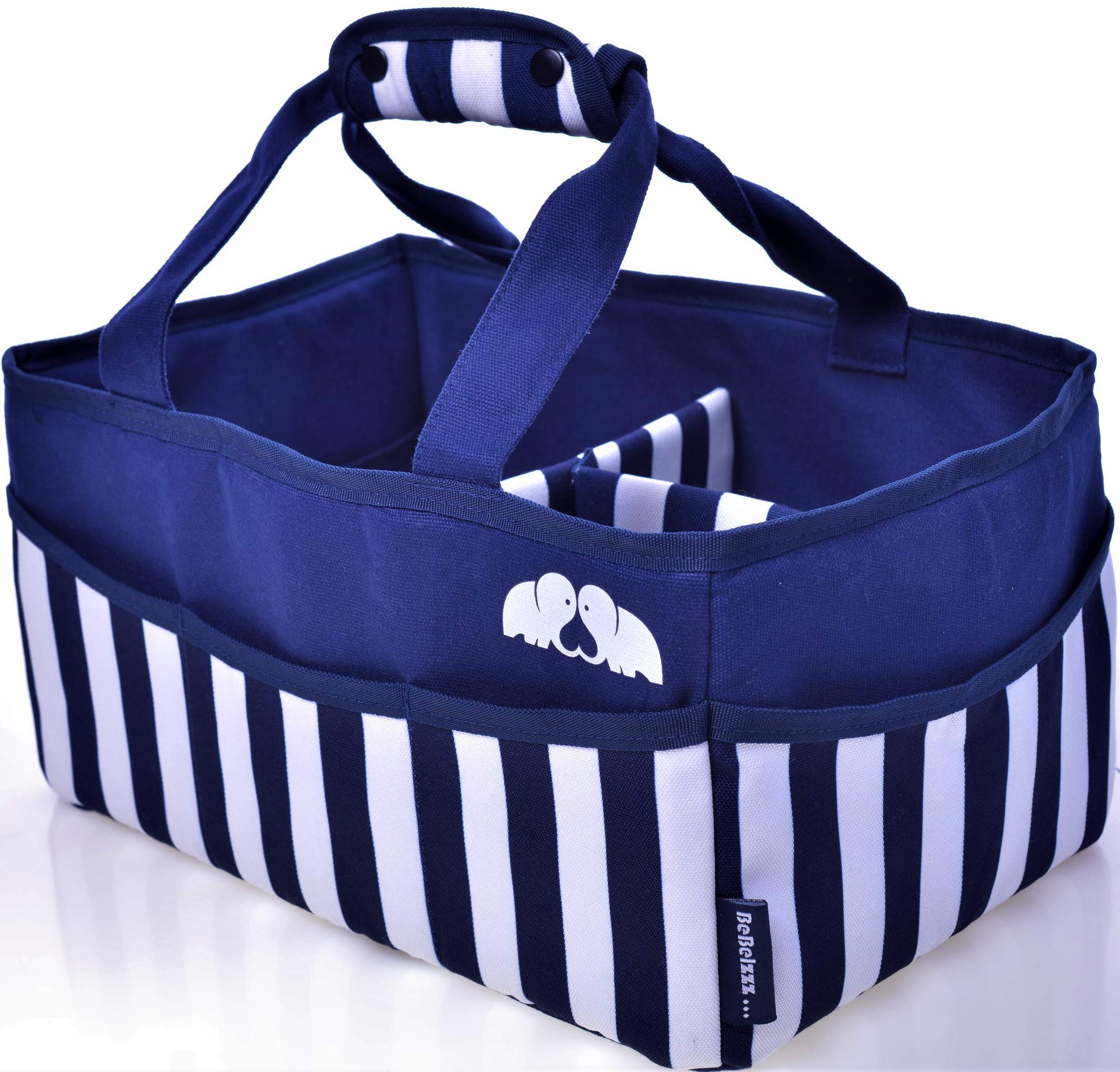 [Baby Diaper Caddy Organizer - WASHABLE] Boys & Girls blue navy chevron - EXTRA LARGE Tote bag Portable Car - Wipes Diapers & Toys bin - Changing Compartments - Newborn Registry & Nursery basket table