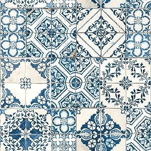 "RoomMates Mediterranian Tile Peel and Stick Wallpaper, 20.5"" x 16.5 Feet, Blue - RMK11083WP"