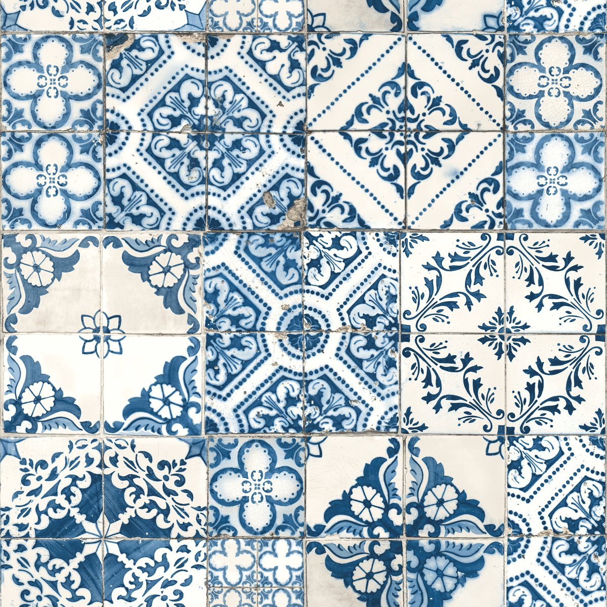 RoomMates Mediterranian Tile Peel and Stick Wallpaper, 20.5'' x 16.5 feet, Blue - RMK11083WP by RoomMates