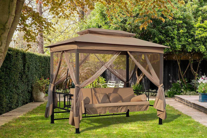 FoxHunter Garden Swing hamaca 3-4 plazas banco de muebles cama silla tumbona Gazebo refugio toldo para jardín y exteriores FHSB04 gris: Amazon.es: Jardín