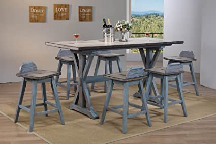 7 piece counter height dining set faux marble dining kings brand arland greyblue 7piece counter height dining set table amazoncom