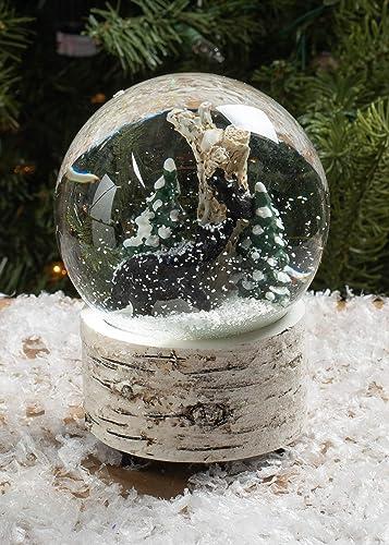 White Wash Wood Black Bear 5.5 inch Resin Decorative Snow Globe