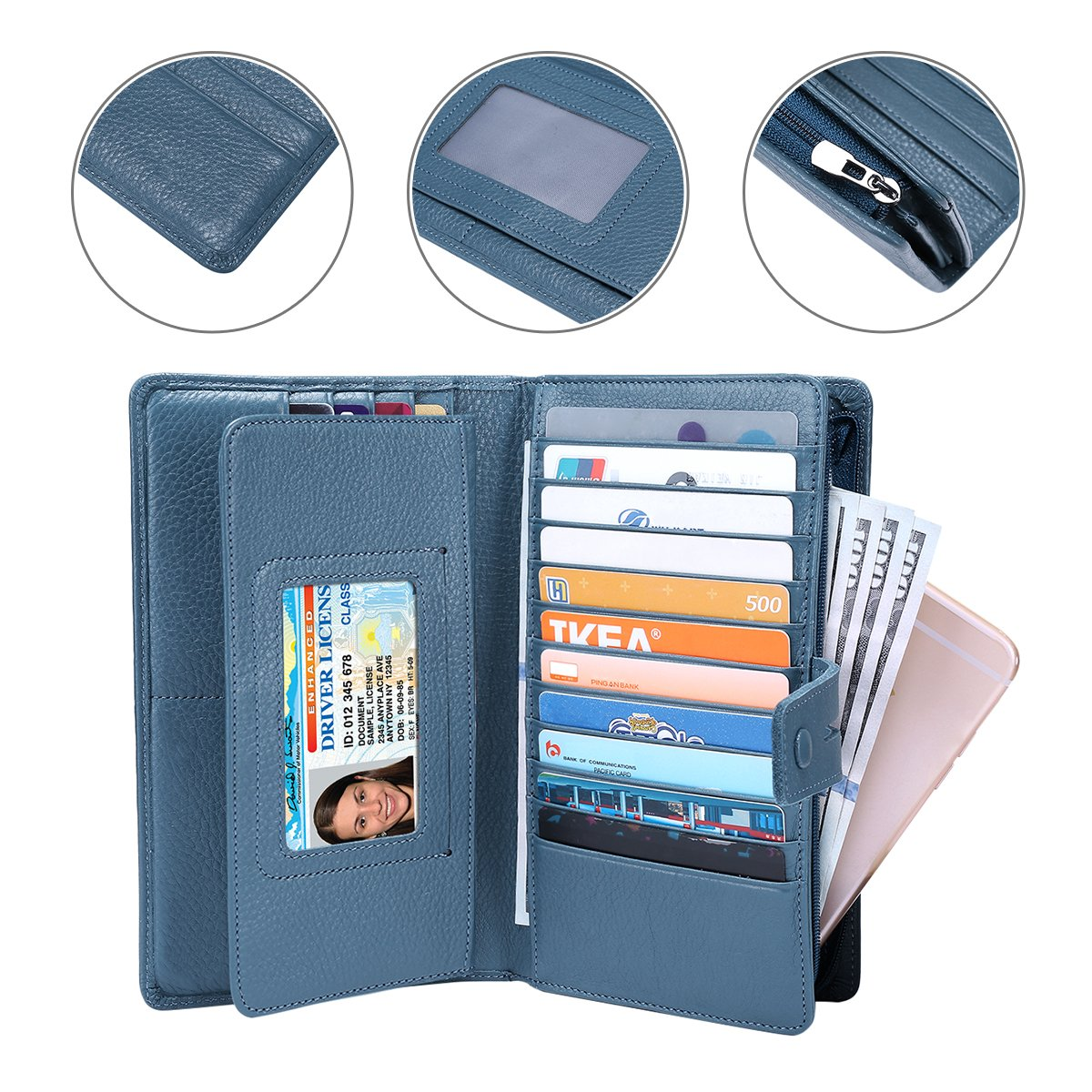 ITSLIFE Women's Big Fat RFID Blocking Leather Wallet Clutch Organizer with Checkbook Holder(Blue) by ITSLIFE (Image #6)