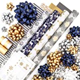 Gold + Silver + Blue Reversible Wrapping Paper Set: 4 Rolls (8 Designs) of Premium Gift Wrap (80 sq. ft.) with 29 Coordinated Bows, 2 Spools of Ribbon, and 24 Gift Tags
