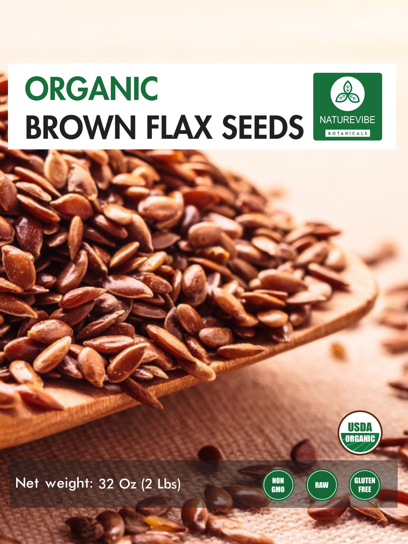 Organic Brown Flax Seed (2lb) by Naturevibe Botanicals, Gluten-Free & Non-GMO (32 ounces) by Naturevibe Botanicals (Image #2)