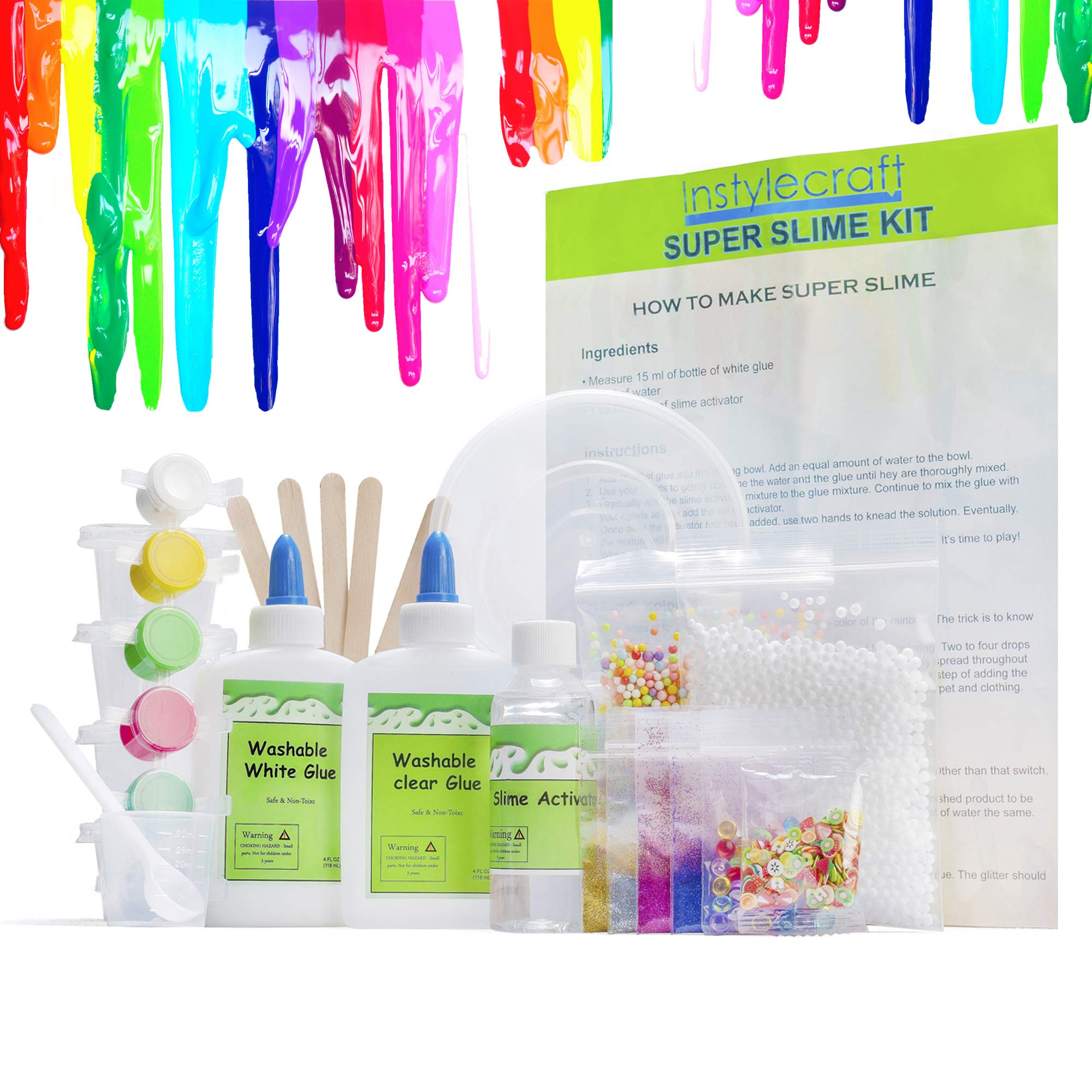 DIY Slime Kit -Learn how to make slime! Make Glow-In-The Dark, Clear, Neon and Glitter Slime - Perfect Gifting Option! Comes With Easy To Make Recipes! Super Slime Making Kit for Boys & Girls! by InStyleCraft (Image #1)