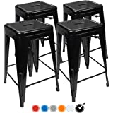 """24"""" Counter Height Bar Stools,! (BLACK) by UrbanMod, [Set Of 4] Stackable, Indoor/Outdoor, Kitchen Bar Stools,! 330LB Limit, Metal Bar Stools! Industrial, Galvanized Steel, Counter Stools!"""
