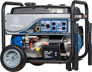 Westinghouse WGen7500DF Dual Fuel Portable Generator - 7500 Rated Watts & 9500 Peak Watts - Gas or Propane Powered - CARB