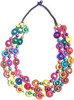 64cm L// 5cm Ext Layered Multstrand Wood Bead Necklace Avalaya Multicoloured