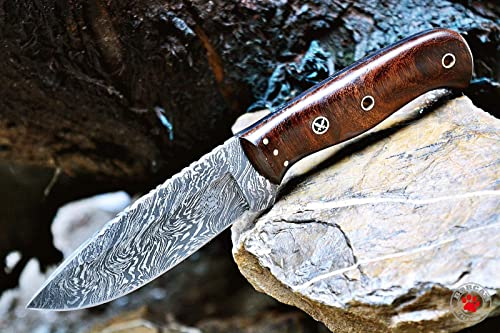 Bobcat Knives Custom Handmade Bushcraft Hunter Skinner EDC Knife Damascus Steel