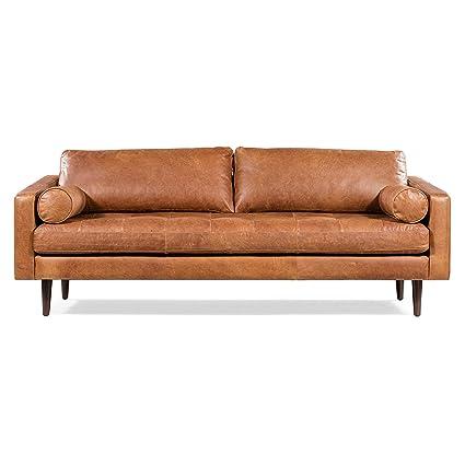 Amazon.com: POLY & BARK Napa Sofa in Cognac Tan: Kitchen ...