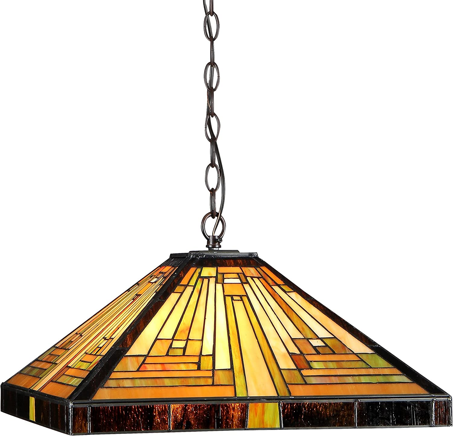 Chloe Lighting CH33359MR16-DH2 Innes Tiffany-Style Mission 2-Light Ceiling Pendant Fixture with Shade, 7.48 x 16.1 x 16.1 , Bronze