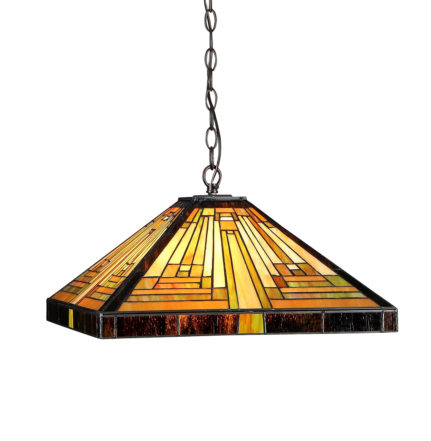 "Chloe Lighting CH33359MR16-DH2 Innes Tiffany-Style Mission 2-Light Ceiling Pendant Fixture with Shade, 7.48 x 16.1 x 16.1"", Bronze"
