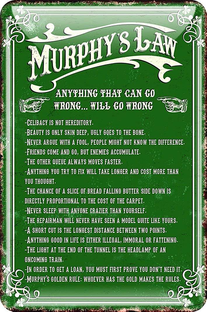 Shamrock Gift Irish Metal Sign - Murphy's Law, Green, One Size