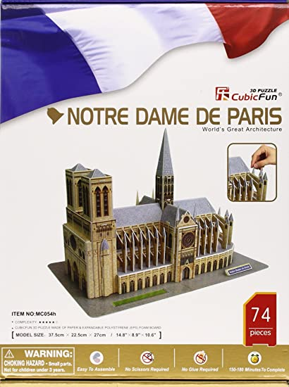 Notre Dame Cathedral 3D Puzzle with Book