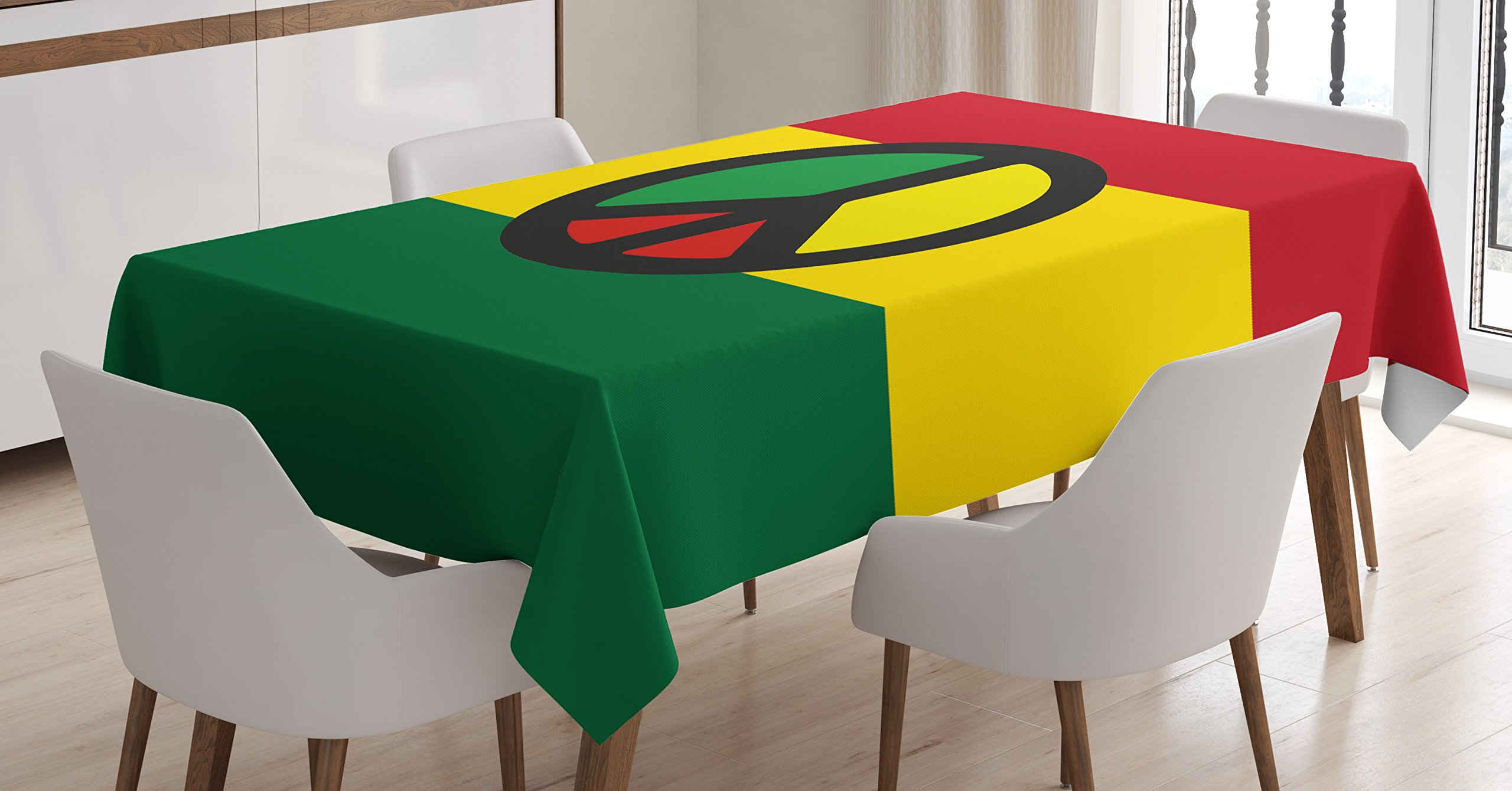 Ambesonne Jamaican Tablecloth, Reggae Culture Peace Symbol Caribbean Country Flag Design Americas Rasta Culture, Dining Room Kitchen Rectangular Table Cover, 60 W X 84 L inches, Multicolor