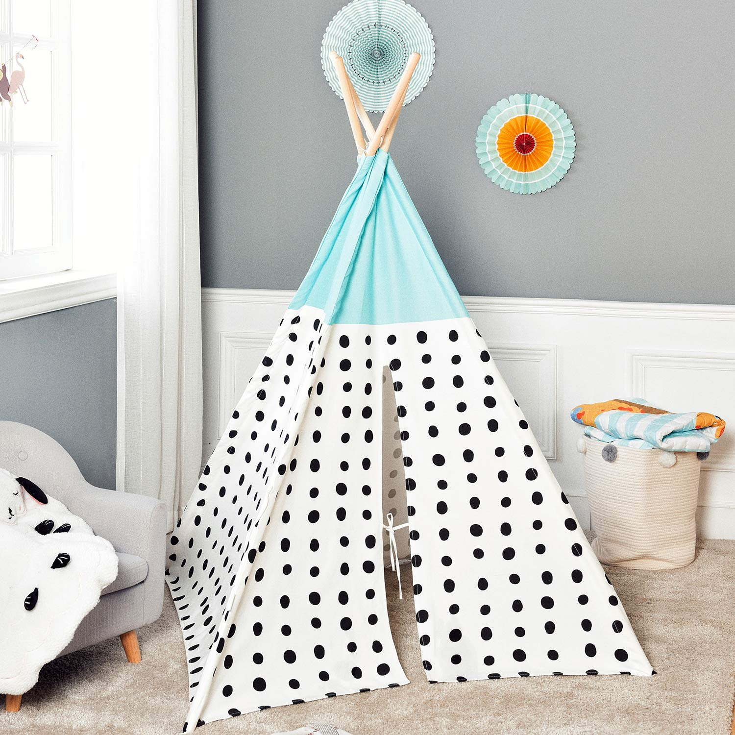 Asweets Teepee Tent for Kids Teepee Play Tent Mat for Boys Indoor Outdoor Play House Tent Indian Canvas Tipi Tent Blue Top Black Point by Asweets (Image #5)