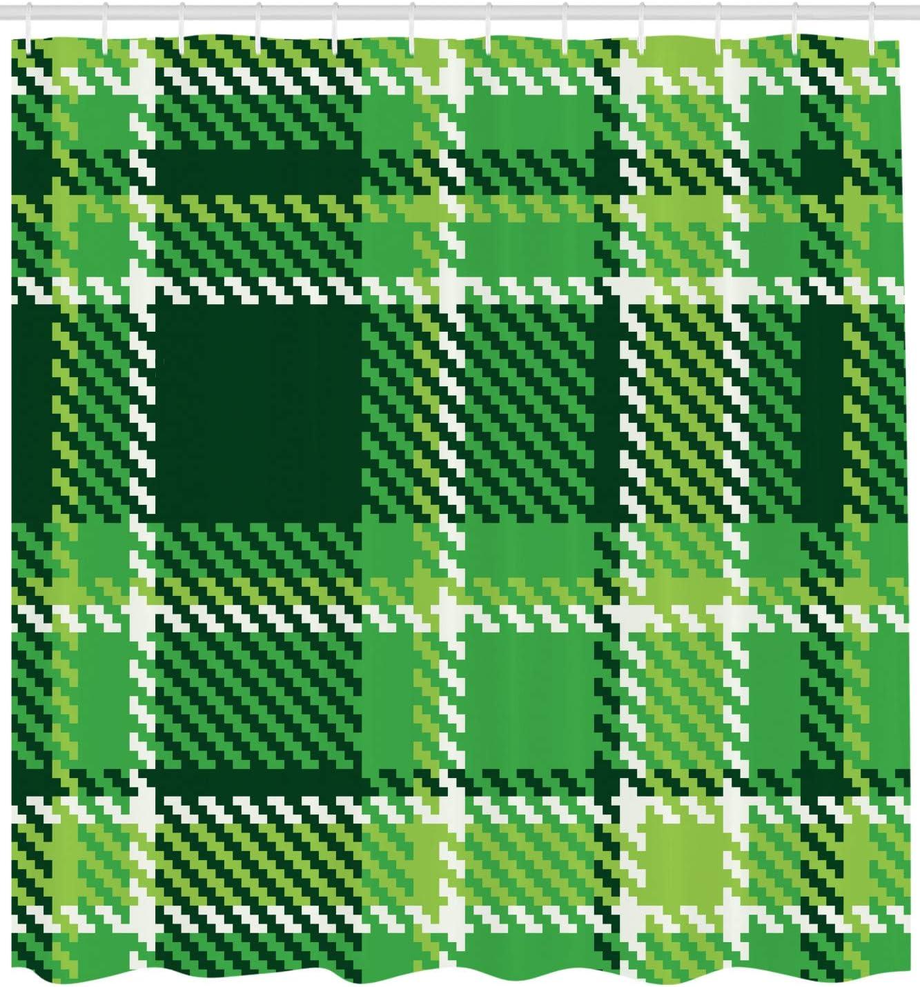 Mosaico Verde İrlandesa Esmeralda Verde Lima Blanca ABAKUHAUS A Cuadros Cortina de Ba/ño Material de Colores Vibrantes Estampas Personalizadas Antimoho 175 x 180 cm