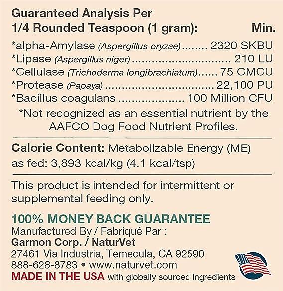 Amazon.com: NaturVet Digestive Enzymes Plus Probiotic Perros ...