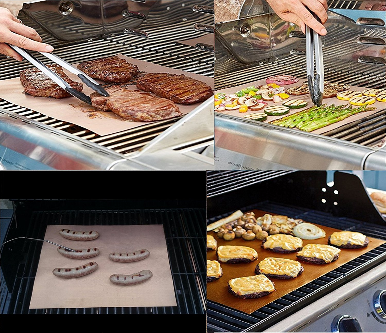 Copper Grill Mat Non Stick BBQ Grill Baking Mats Reusable