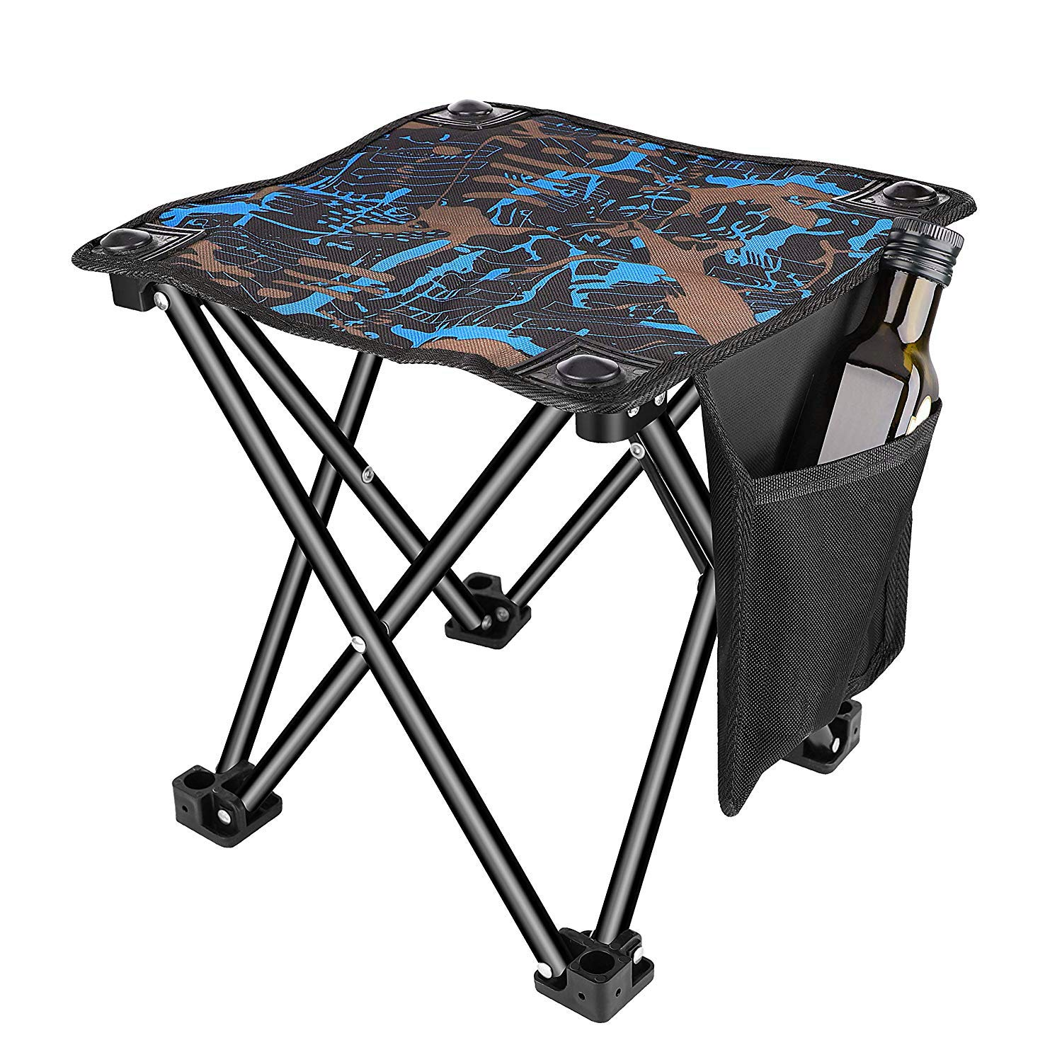 Unihoh Small Folding Camping Stool, Portable Stool for Outdoor Camping Walking Hunting Hiking Fishing Travel,600D Oxford Cloth Slacker Stool with Carry Bag by Unihoh
