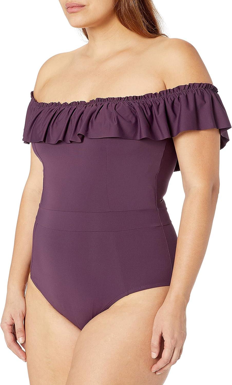 Bleu Rod Beattie Women's Plus Size Lace Down One Piece Swimsuit