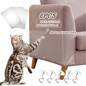 Axgo Cat Furniture Protector, 8 Pack Self-Adhesive Cat Couch Scratch Protector with 48 Twist Pins, 100% Transparent Clear Furniture Protectors from Cat Scratching Cover to Protect Sofa,Walls, Doors