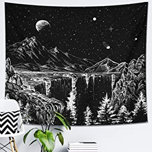 DESIHOM Starry Night Tapestry Mountain Tapestry Moon and Stars Tapestry Black and White Wall Tapestry for Bedroom Living Room Dorm Decor 70.9x92.5 Inch