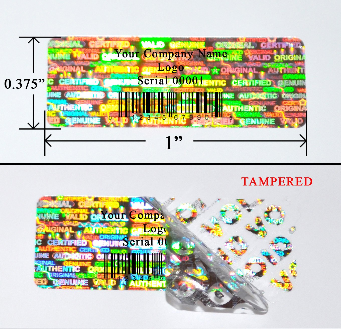 Amazon com 500 tamper evident holographic custom print silver security label seal sticker rectangle 1 x 0 375 25mm x 9mm office products