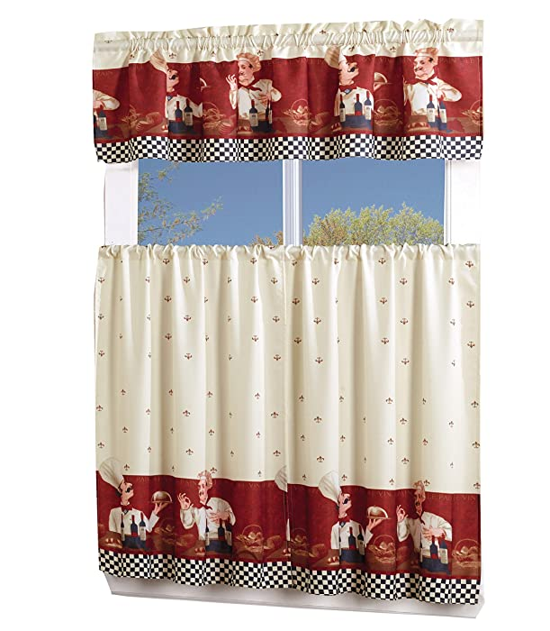 MarCielo 3 Piece Printed Floral Kitchen/Cafe Curtain With Swag and Tier Window Curtain Set, Chef